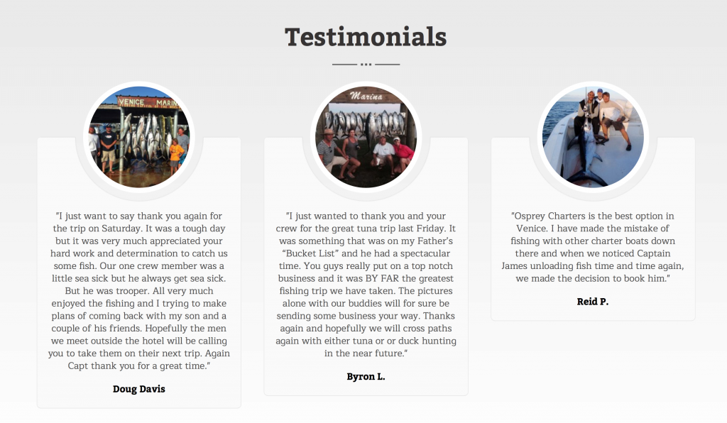 Fishing Guide Testimonials